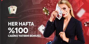 haftalık %100 casino ilk yatırım bonusu